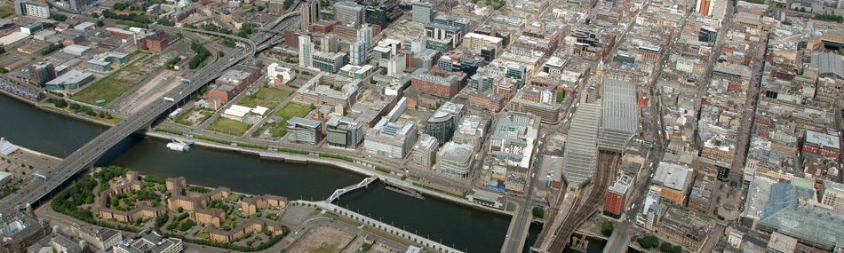 Aerial view of the IFSD and the River Clyde